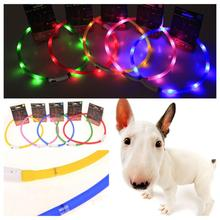 USB Rechargeable Led Dog Pet Flashing Collar Light Up Rechargeable Night Safety Necklace Free Size Six Colors