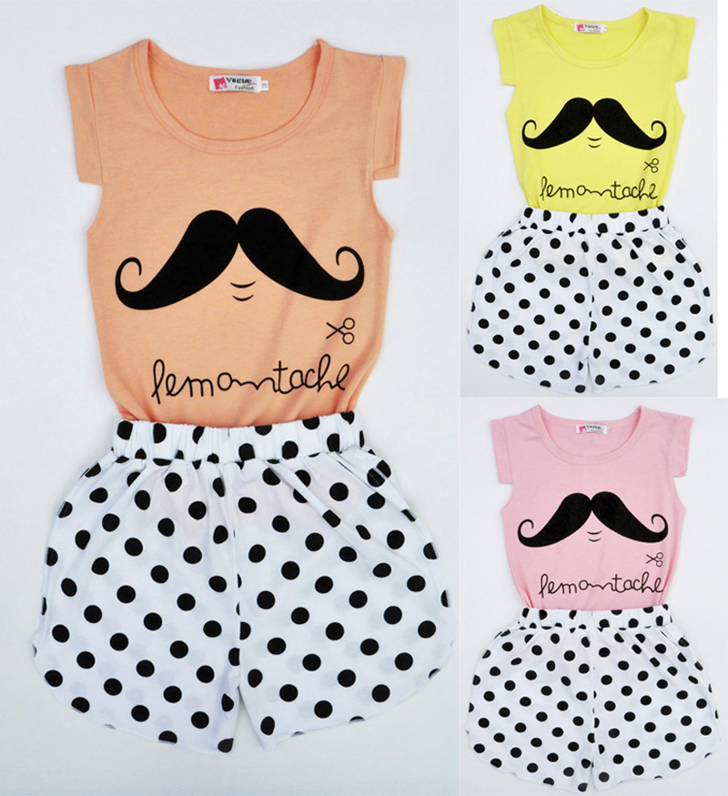 New 2016 Summer Fashion Girl Set Cartoon Images T-Shirt + Polka Dot Shorts Children Set Summer Children Clothes vetement fille