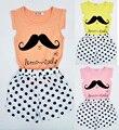Novo 2016 Summer Fashion Girl Set imagens de desenhos animados T - Shirt + Polka Dot calções crianças Set verão roupas infantis vetement fille
