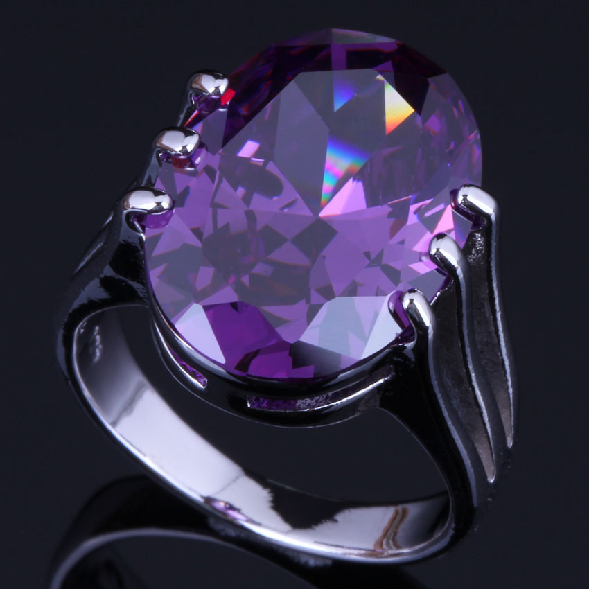 Awesome Oval Egg Purple Cubic Zirconia 925 Sterling Silver Ring For Women V0472