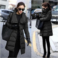 2015 New Winter Fashion Women PU Patchwork Thickening Slim Medium-long Plus Size Down Coat Solid Brief Outerwear S-3XL