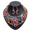 4 colors fashion Women jewelry sets Trendy necklace with boho earrings statement necklace for party wedding 2016 Direct Selling