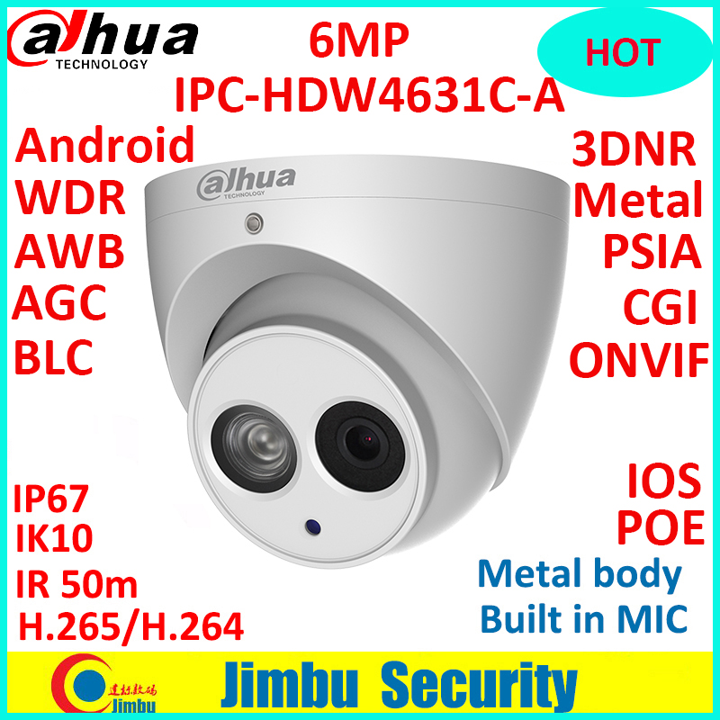 Dahua 6MP 4MP POE H.265 HOT IP Camera Built-in mic IPC-HDW4631C-A&HDW4433C-A IR security cctv Dome Camera onvif купить недорого в Москве