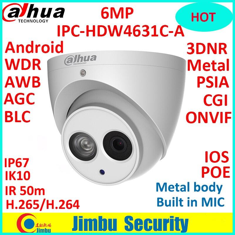 Dahua 6MP 4MP POE H.265 HOT IP Camera Built-in mic IPC-HDW4631C-A&HDW4433C-A IR security cctv Dome Camera onvif
