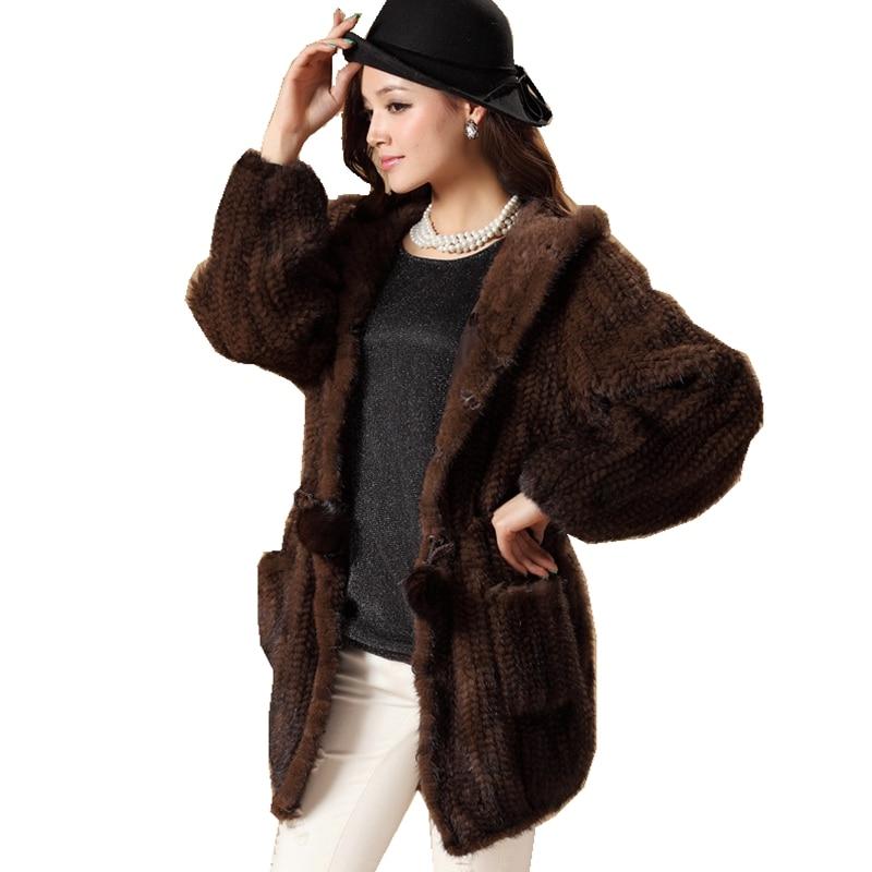 De luxe D'hiver de Femmes Véritable Réel Fourrure de Vison Tricoté Manteau avec Sweat À Capuche Dame Chaud Survêtement Pardessus VF0498