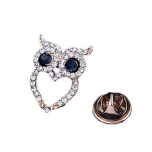 Fashion New Hat Accessories Party Gift Retro Mini Owl Brooch Shirt Suit Collar Pin YBRH-0256(China)