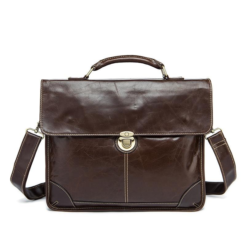 2018 New Solid Cow Leather Business Briefcase Men 100% Genuine Gentleman 14 Inches Real Handbag Men's Totes Laptop Shoulder Bag