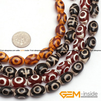 12x16mm Olivary Dzi Beads Tibet Agate Strand 15 Natural Agate Stone Beads Loose Beads For Jewelry