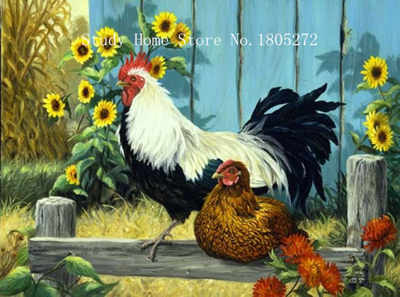 DIY Diamond Painting Cross Stitch Embroidery <font><b>Rooster</b></font> Crystal Full Square Drill Flower <font><b>Home</b></font> <font><b>Decor</b></font> painting diamond pattern AA43