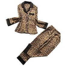572a14473fd14 YOUYEDIAN 2019 mode Sexy femmes pyjamas ensemble Satin léopard à manches  longues pantalon Lingerie de nuit deux pièces ensembles