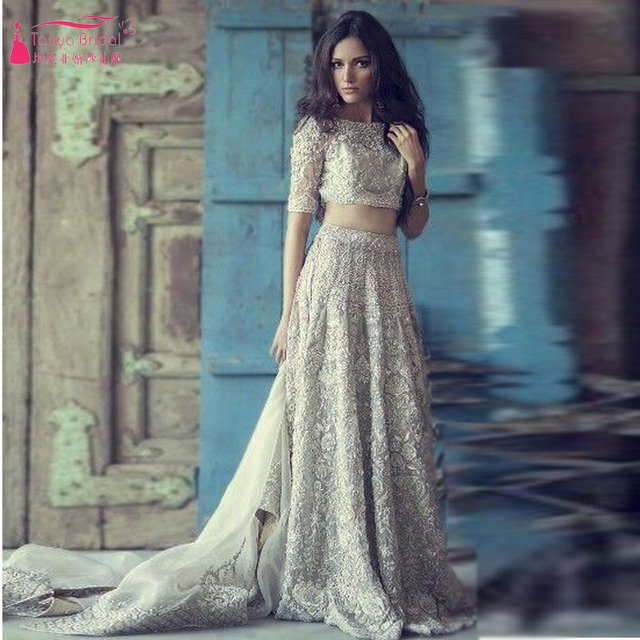 Two Piece Bling Shinny Wedding Dresses Sexy Half Sleeve  gelinlik  boho wedding dress 2016 Arabic vestido branco longo  Z182