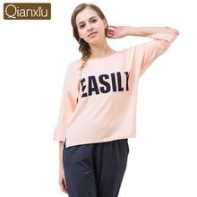 Qianxiu Casual Letter Printed Women Pajamas Sleepwear Autumn Cotton Three Quarter Sleeve font b Sleep b