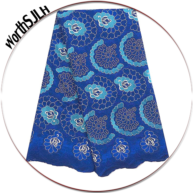 Royal Blue Nigerian African Lace Fabrics Stones Peach Swiss Voile Lace Fabrics High Quality Cotton Lace Fabric In Switzerland