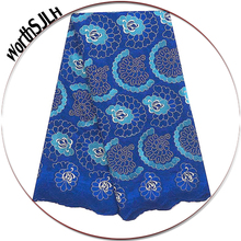Royal Blue Nigerian African Lace Fabrics Stones Peach Swiss Voile High Quality Cotton Fabric In Switzerland