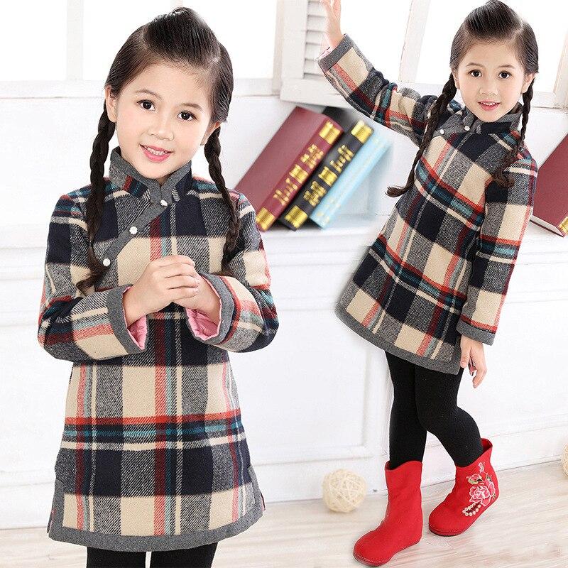 Bébé filles robe hiver matelassé plus chaud fille doudoune chi-pao robes enfants Cheongsam Qipao Blouses Outwear