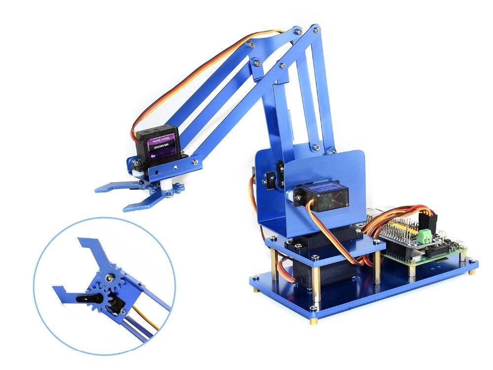 Waveshare 4-DOF Métal Robot Bras Kit pour Raspberry Pi Zéro/Zéro W/Zéro WH/2B/3B /3B + Bluetooth/WiFi Télécommande