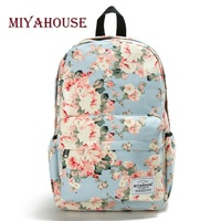 Miyahouse Classic Floral Printed Travel Backpack For Women Canvas School Backpack For Teenager Large Capacity Backpack