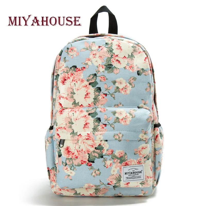 Miyahouse Classic Floral Printed Travel Backpack For Women Canvas