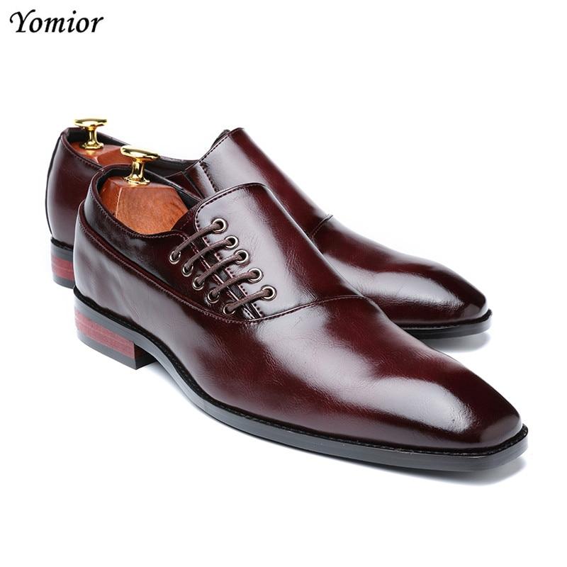 Yomior New Spring Summer Men's Dress Shoes Japanese Formal Business Oxfords Vintage Men Elegant Shoes Party Wedding Shoe Black 2