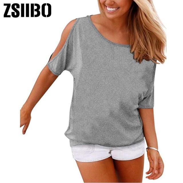Summer Women Solid color T-shirts O- neck Strapless Shirts Off Shoulder  short sleeved 9bf2bff0e