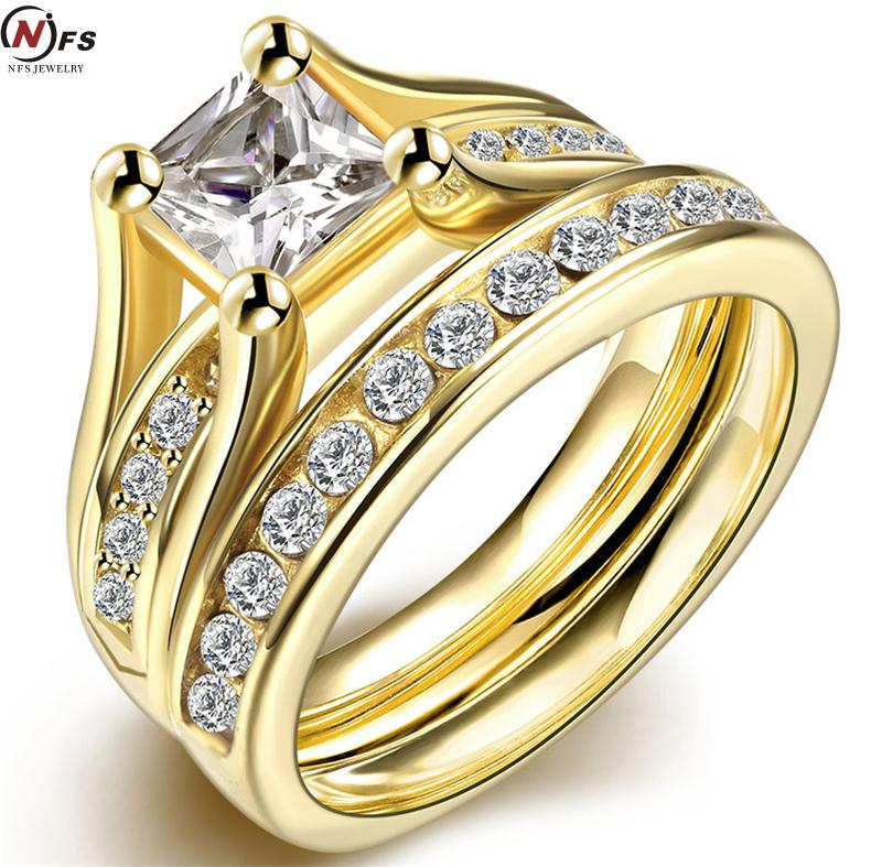 Eometr Design Male Female Yellow Old Plated Wedding Ring Sets Stainless Steel Rings For Men And Women Jewelry In From Accessories On