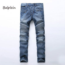 цена на 2019 New Balplein Biker Jeans Men High Stretch Cargo Denim Jeans with Zippers Pleated Slim Jean Men's Scratched Pants Trousers!
