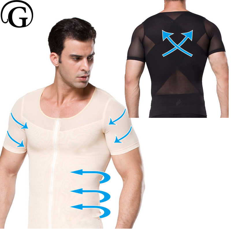 f51f95e918ff2 PRAYGER Men Compression Gynecomastia Corset Zipper Control Belly Shaper  Waist Tummy Sleeves Slimming Shirt boobs Abdomen