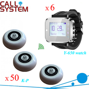 One set 50 buzzer beeper with 6 wrist pager watches Wireless server calling system for catering equipment