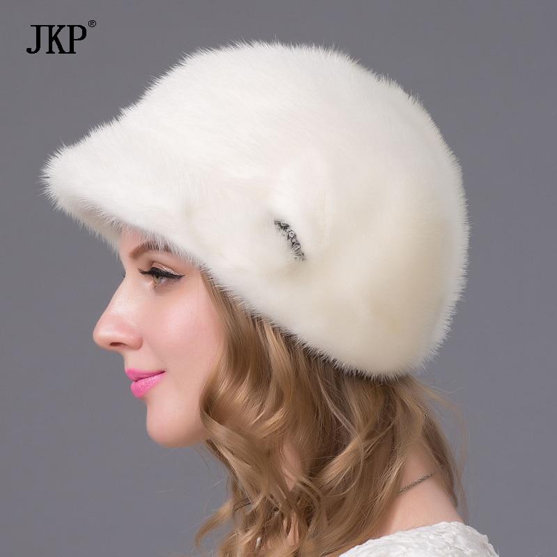 Шерстяные шапки бейсболки женские Зимние Повседневные шапки с жемчугом сплошной цвет - 4