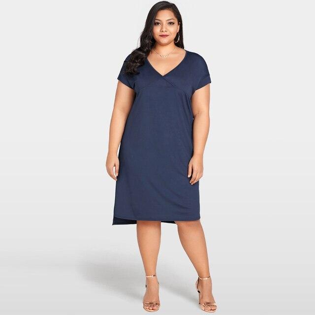 Fashion Women Casual Summer Dress 2018 New Deep V Neck Plus Size