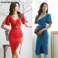 Plus Size Bodycon Dress Women Summer 2018 Blue Red V neck Elegant Office Dress for Women Sexy Party Wear Club Ladies Dresses
