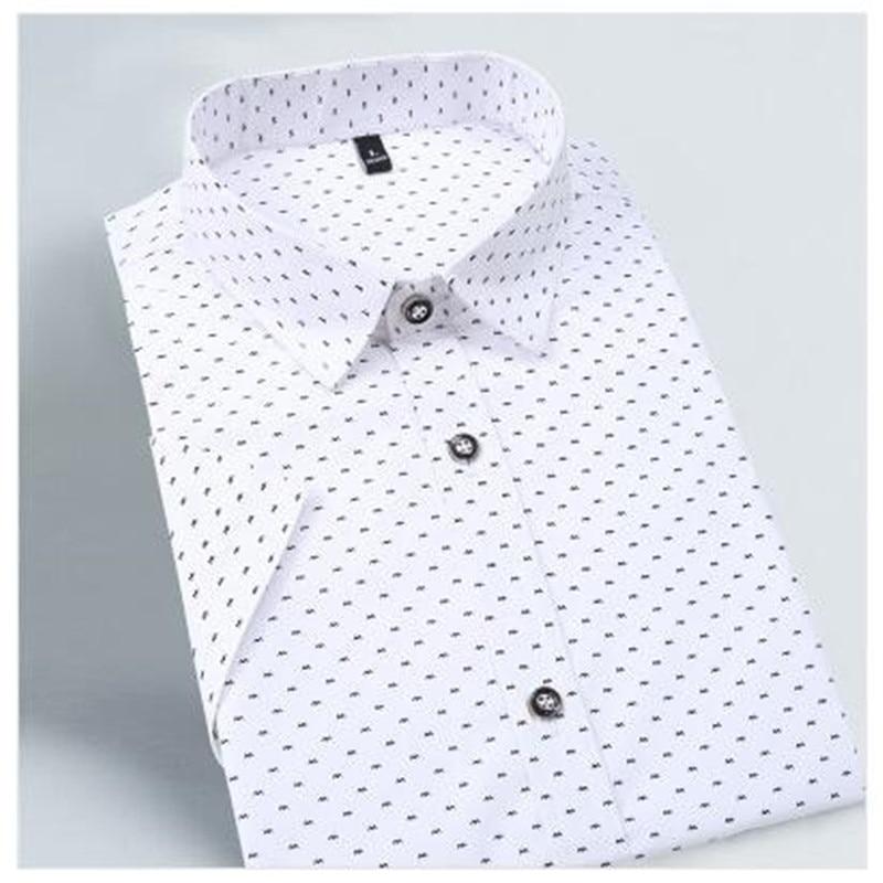 2018 Summer New Fashion Brand Clothing Men Short Sleeve Shirt Polka Dot Slim Fit Shirt 100% Cotton Casual Shirts Men M-5XL