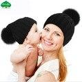 Niños de La Manera Niños Sombreros 100% Real de Piel de Mapache Invierno pom pom Gorros Cap Sombrero De Piel Natural Para Los Niños Los Niños