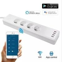 Smart WIFI power strip EU standard with 4 plug and 4 USB port compatible with Amazon Alexa and Google Nest