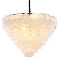 Lustre Modern Chandelier Lighting Fixture Glass Shell LED Light Hanging Lamp for Living Dining Room Bedroom Elegant 48 to 100cm