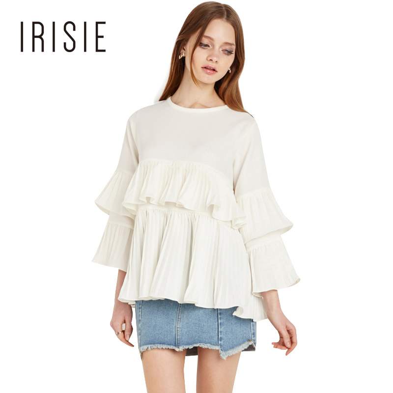 IRISIE Apparel White Sweet Casual Women Blouse Shirt Ruffle Drap Slim Female Shirt Summer Frill Chic Basic Chiffon Blouse