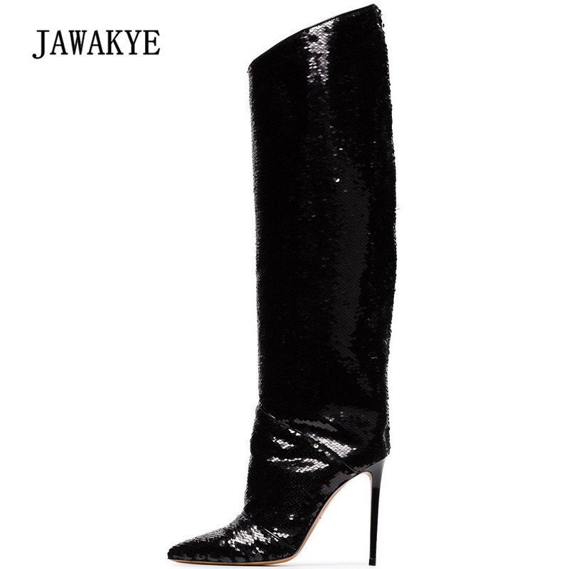 2019 Bling Bling Knee High Boots Woman Pointed Toe Sequined High Heel Boots Women Sexy Party Shoes2019 Bling Bling Knee High Boots Woman Pointed Toe Sequined High Heel Boots Women Sexy Party Shoes