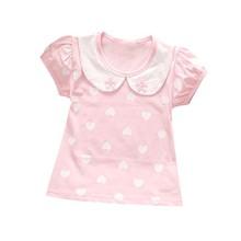 T-Shirt Blouse Short-Sleeve Baby-Girls Summer Kids Children Heart Print Casual 1-4T Top
