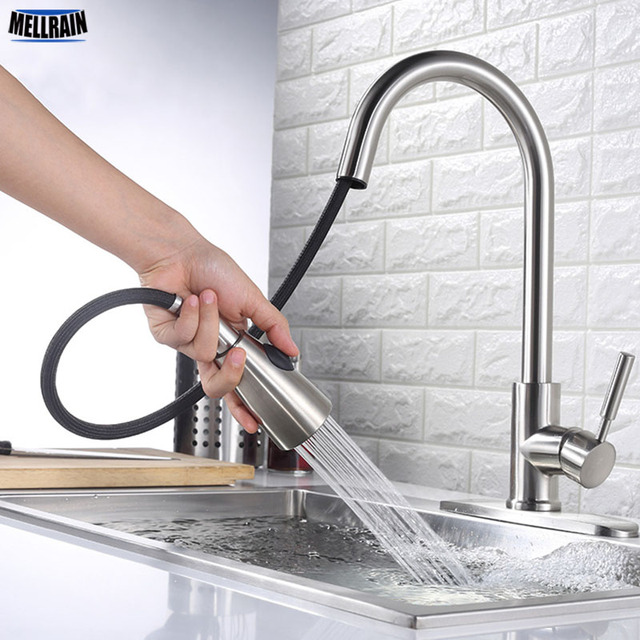 High Quality Stainless Steel Pull Out Kitchen Mixer Faucet Brushed Face Oil Resistant Sink Tap