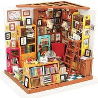 Casa de muñecas miniatura DIY casa de muñecas con muebles casa de madera juguetes para niños librería Sam Robotime DG102