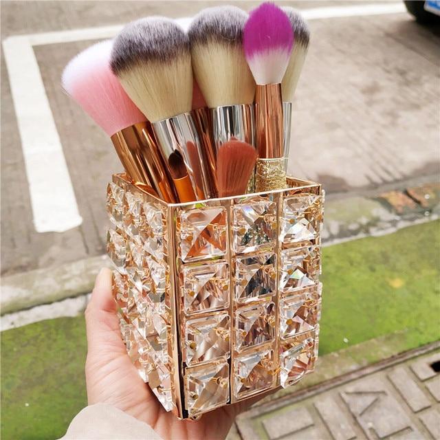Crystal Makeup Organizer Storage Boxes Lipstick Holder Makeup Brush Storage Europe Make up Organizer Cosmetic Tools Display Box