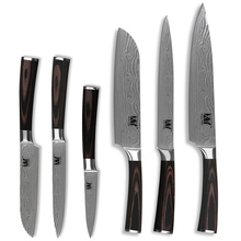 6 Piece Set High Grade Stainless Steel Knife Color Wood Handle Beauty Pattern Sharp Blade Kitchen Knife XYj Brand Cooking Tools