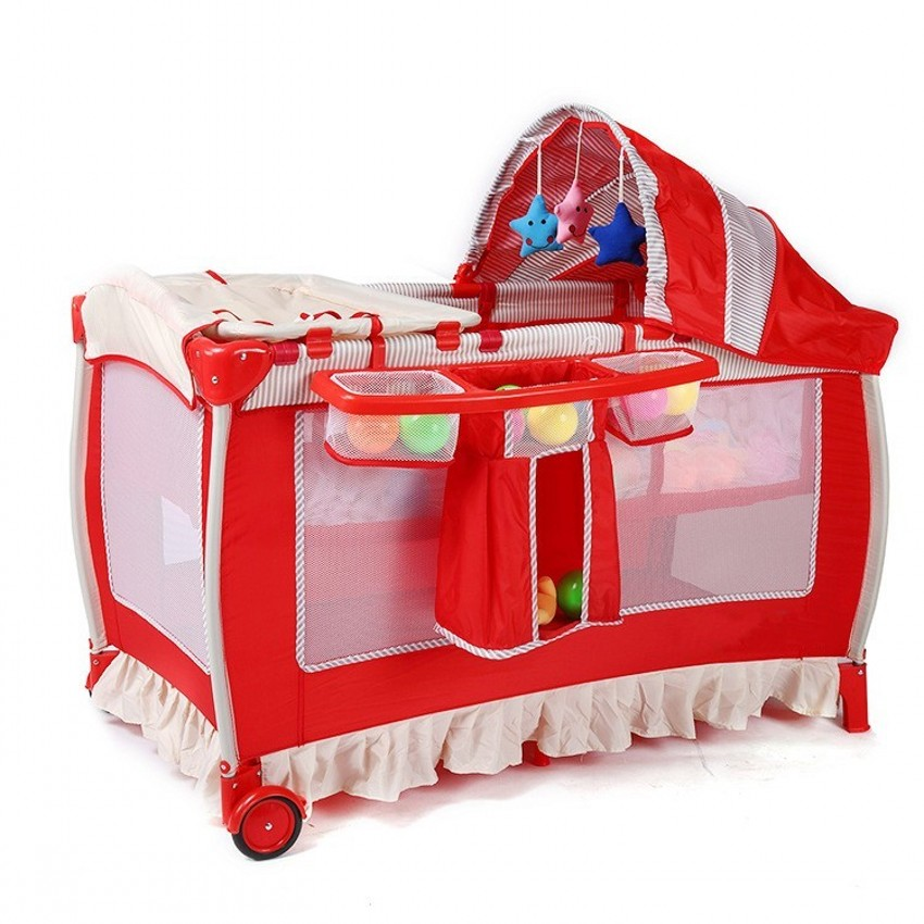 Multifunction Portable Baby Toddler Crib Foldable Baby Cribs With Netting Safe Trolley Baby Game Play Beds