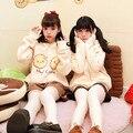 Irmã macio creme de Biscoito amarelo impressão moletom com capuz e jaqueta mulheres outerwear doce Japonês solto casaco Com Capuz De Lã para adolescentes