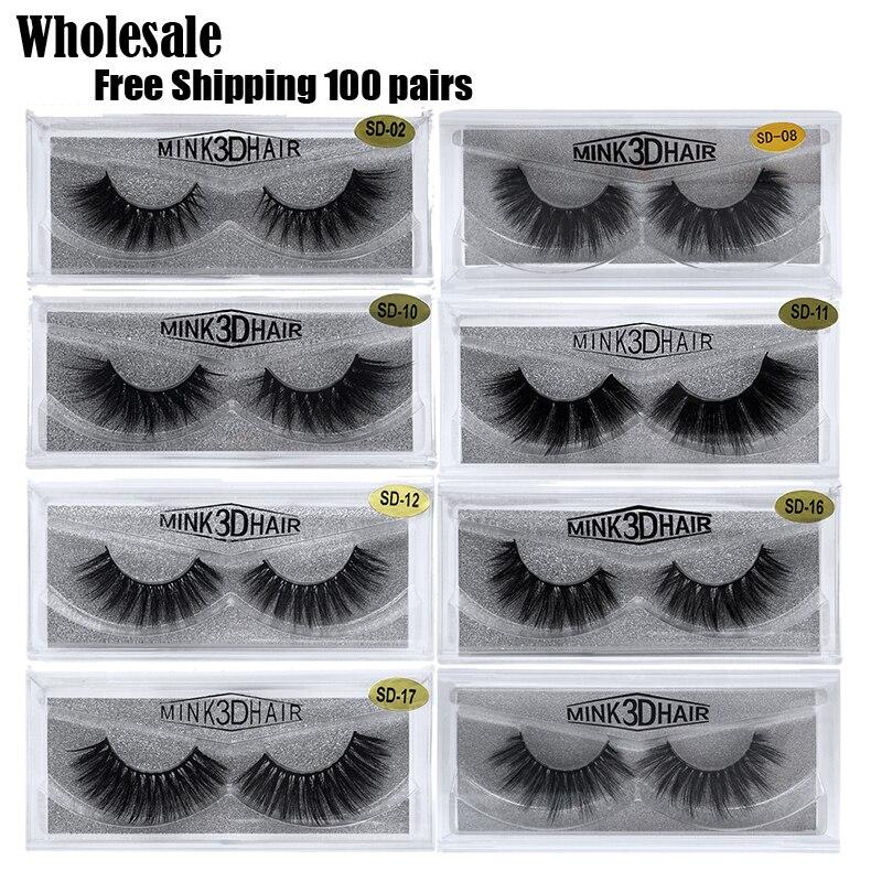 Free Shipping 100pairs JIEFUXIN Lash Mink Eyelashes 3D Mink Hair Lashes Wholesale Mink Fur Handmade Crossing