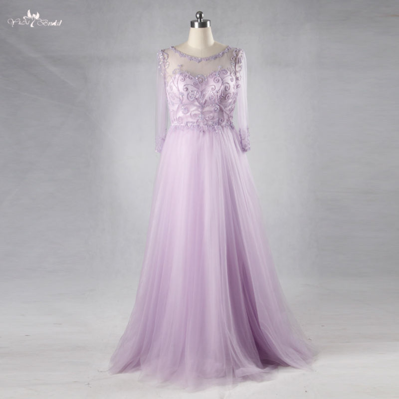 RSE714 Long Evening Beading Tulle Prom Dress Lilac Homecoming Dresses