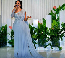 2018 Sheath Evening Dress with Long Cape Sash One Shoulder Sequin Beaded Asymmetric Plus Size Custom Chiffon Column Prom Gown