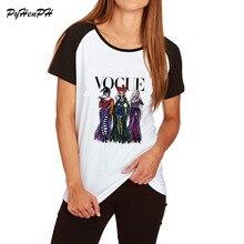 """Новейшая модная футболка, женская футболка на Хэллоуин, рисунок """"фокус-покус"""", хлопковая футболка с коротким рукавом, Женская свободная футболка размера плюс, женские топы"""