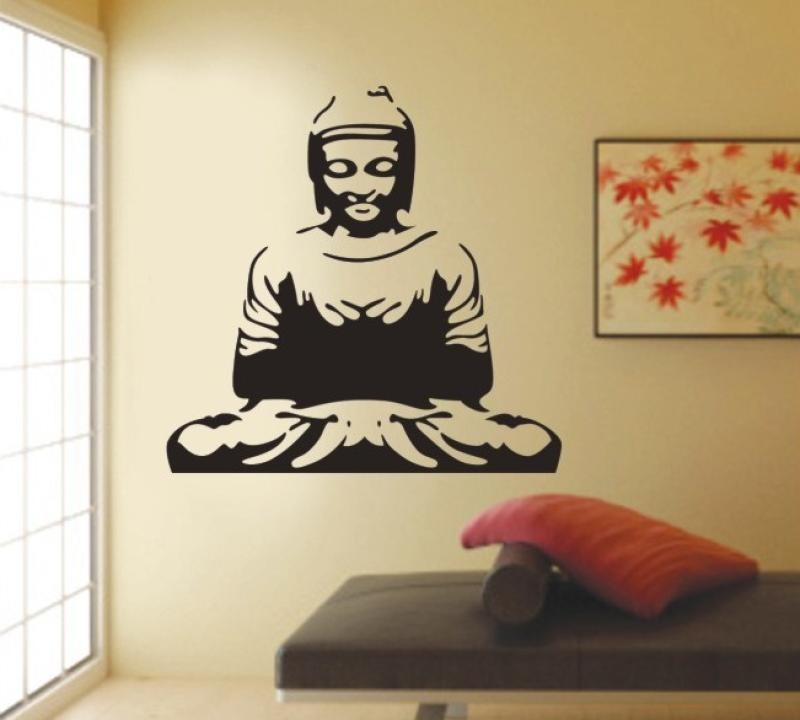 traditional chinese big buddha pattern wall stickers indian sitting