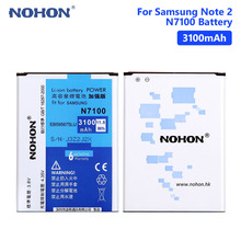 цена на NOHON N7100  Lithium Rechargeable Battery EB595675LU For Samsung Galaxy Note 2 II N7100 N7102 N719 N7108 3100mAh Phone Batteries
